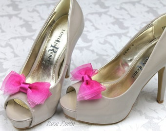 Pink Ombre Shoe Clips, Pink Bow Shoe Clip, Pink Wedding Bow Clip Shoes, Pink Wedding Accessories