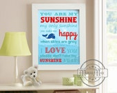 You are my sunshine - Whale Nursery Decor - Beach Nautical Nursery Decor, Ocean Prints,  Boys Room Decor Wall Art , Whale
