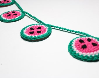 Watermelon Garland, Crochet Bunting, Summer Party Decoration, Kitchen Wall Hanging, Food Home Decor, Nursery Wall Decoration