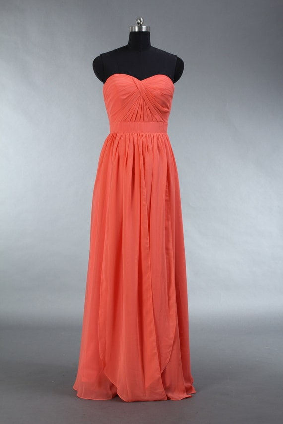 Items similar to Long Coral Bridesmaid Dress, Coral ...