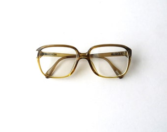 70's Zeiss Eyeglasses Brown Unisex Men Women Retro Prescription Frames Made in Germany