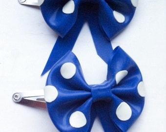 Polka Dot Latex Hair Bow Clips - Set of 2