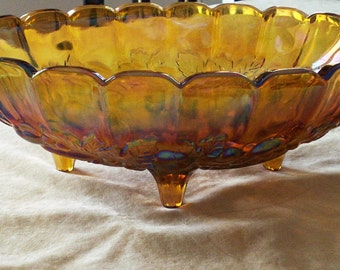 Harvest carnival oval center bowl by Indiana Glass Iridescent Marigold Glass