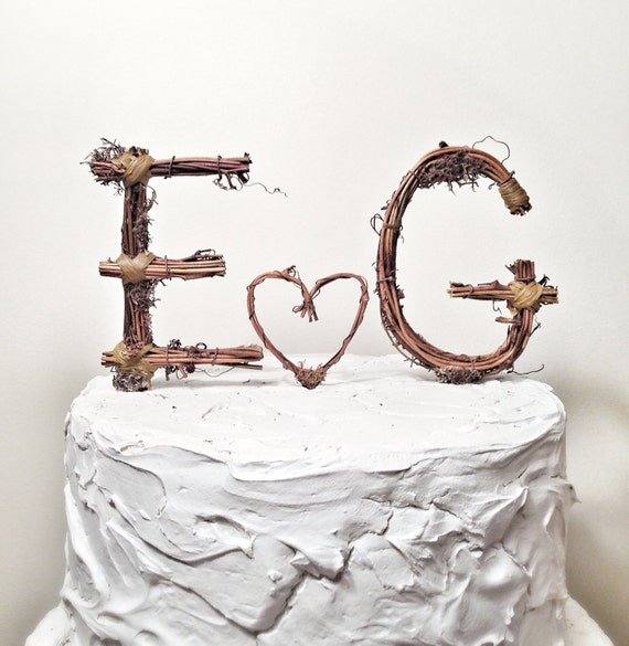 Rustic Monogram Wedding Cake Topper: Personalized- Any Two Letters and a Heart