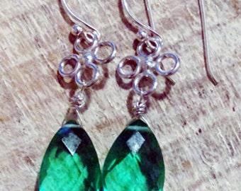 Fresh Seafoam Green Quartz and Sterling Dangle Earrings