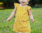 Mustard Yellow White Polka Dot Fall Thanksgiving Baby Toddler Peasant Dress