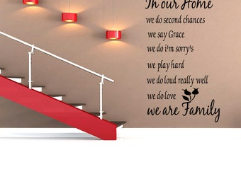 Family In Our Home Quote Vinyl Decal Sticker Art Wall Decal Quote (C3)