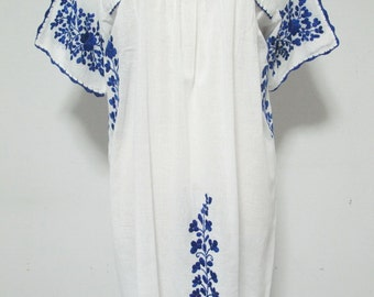 Mexican Embroidered Dress Cotton Tunic In White, Boho Dress, Peasant Dress, Oaxacan Dress