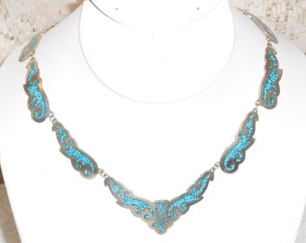 Vintage 1980s Taxco Mexico 925 Sterling Silver Crushed Turquoise Inaly link necklace