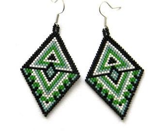 Large statement earrings, beaded earrings, seed bead earrings, geometric earrings