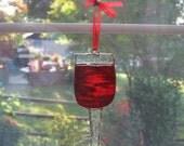 Wine Glass Stained Glass Suncatcher - Wine Decoration - Bar Decor - Wine Glass Ornament - Housewarming Gift - Hostess Gift