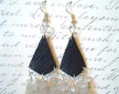 Leather Earrings- Glass Chip Earrings- Black Leather- Surgical Steel- Mixed Materials - Upcycled Jewelery