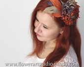 Kentucky derby hat, Mother of a bride accessories, Autumn color silk flower, Boho wedding hair accessories, Terracotta and purple fascinator