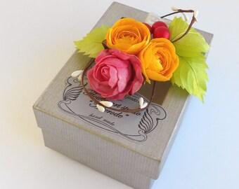 Flower hair clip, Bridesmaid hair clip, Girl hair flower, Bridal Accessories, Hair Accessories, Flowergirl hair flower, Gift for girl.