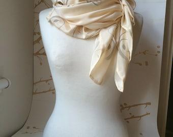 UNIQUE Detailed Ironwork Light Grey Design On Cream - 100% Silk Scarf