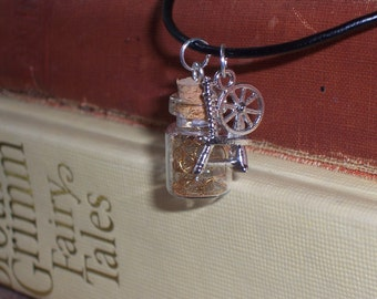 SALE Rumpelstiltskin' Spinning Wheel & Straw into Gold - magic mini bottle - Once Upon A Time - Fairy Tales - Gifts Under 15, 20, 25, 30