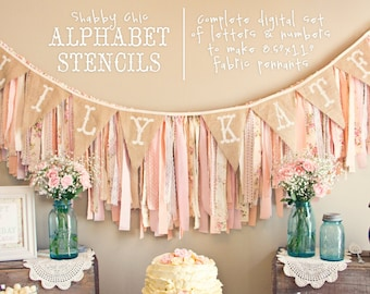 INSTANT DOWNLOAD Printable Alphabet Stencils for Fabric Banner Pennant Garland Shabby Chic Vintage Birthday Baby Shower | PDF File