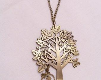 Brass tree pendant necklace - brass tree bird jewelry - tree pendant - brass necklace - statement necklace