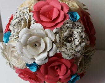 Coral, turquoise, and ivory paper flower bridal bouquet