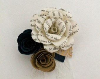 Paper flower pin up corsage