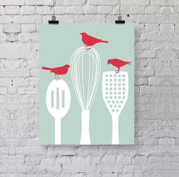 Preorder birds on kitchen utensils art print modern by for Wall painting utensils