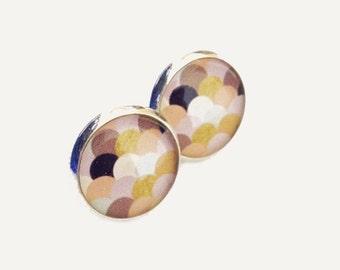 Golden Pastel Scallop Resin Post Silver Earrings