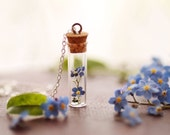 forgetmenot necklace , 925 sterling silver , 14k gold , real flower necklace , botanical pendant , romantic gift , something blue , memorial
