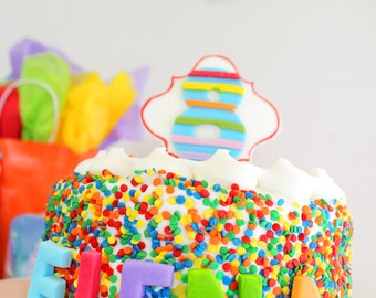 Edible Fondant Cake Topper Block Letters Name for Birthday Cake, Rainbow Birthday Cake, My Little Pony, Rainbow Letters