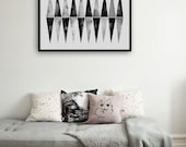 Original Geometric Watercolor Hand Painted Minimalist Art Modern Triangle Artwork Black White Triangles Abstract Monochrome Painting