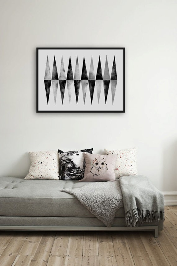 Large Watercolor Original . Hand Painted . Triangle Art . Geometric Art . Black White Modern Art .
