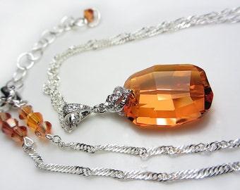 Swarovski Crystal Necklace Exotic Orange Necklace Sunset Chili Pepper Crystal Necklace Amber Swarovski Pendant Necklace Gift for her