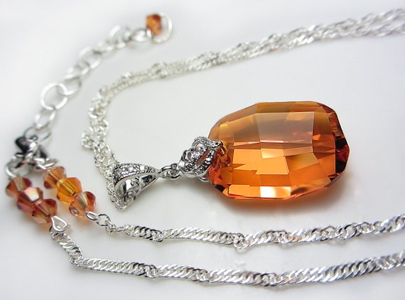Swarovski Crystal Necklace Exotic Orange Necklace Sunset Chili Pepper Crystal Necklace Amber Swarovski Pendant Necklace Gift for her