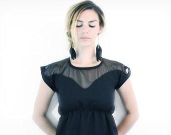 tea length dress - empire waist, sweetheart dress, sweet heart neckline, black, small
