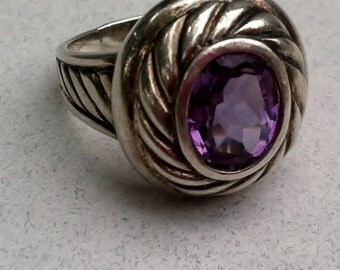 Statement Amethyst Sterling Silver Ring Size 9 1/2