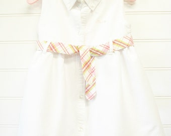 Vintage Toddler Dress, White Toddler Girls Dress Size 3 T. Vintage Izod Dress in White With a Plaid Tie at Waist. #