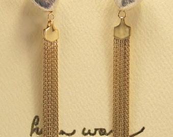 Helen Wang Earrings - 14K Gold-Filled Tassels, Brushed Satin Sterling Silver Oblique
