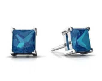 2 Carat London Blue Topaz Princess Cut Stud Earrings .925 Sterling Silver Rhodium Finish White Gold Quality