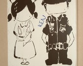 Law Enforcement Sign, Police Sign, Nurse Sign, LEO/Nurse Couple, Custom Wood Sign - Police Officer/Nurse Cutie Couple by Yu Yu Art