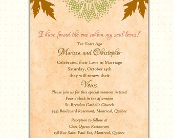 Vow Renewal Invitation, autumn, wedding, anniversary, milestone, digital, printable, invite V1485