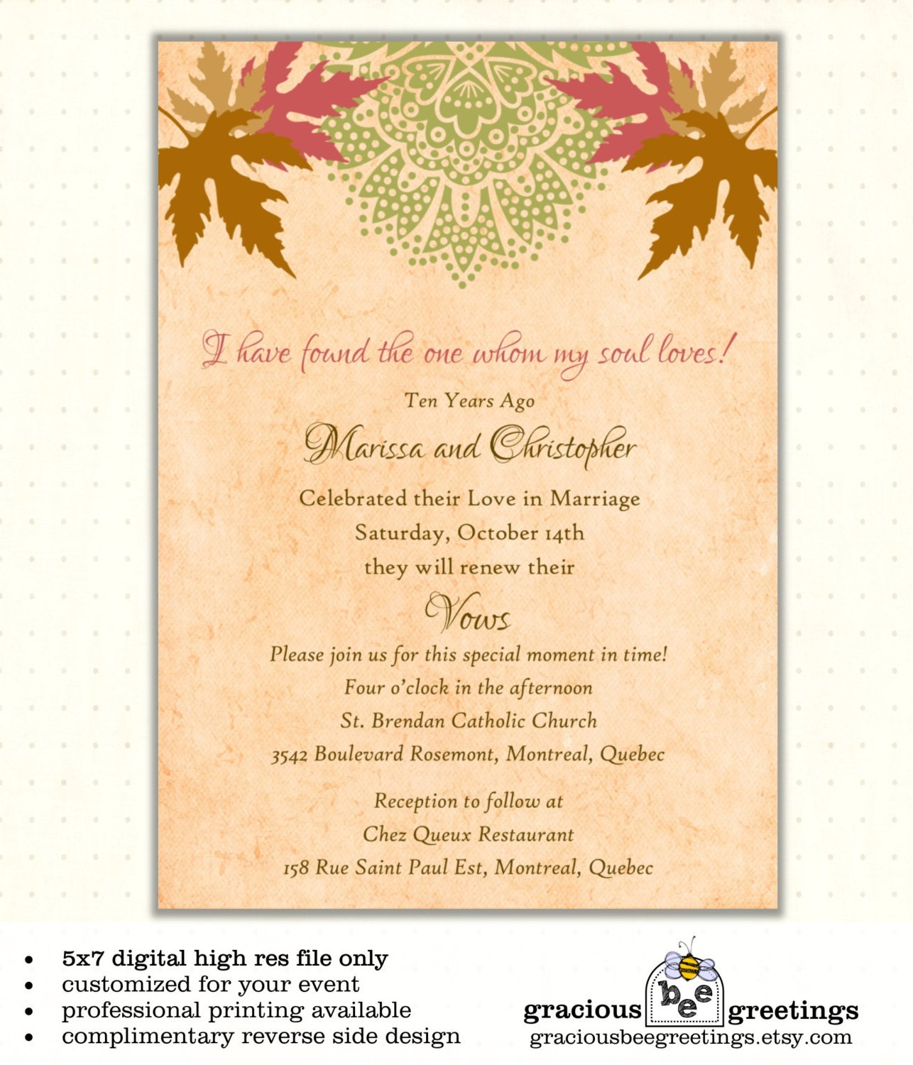 Vow renewal invitation autumn wedding anniversary for Free printable wedding vow renewal invitations