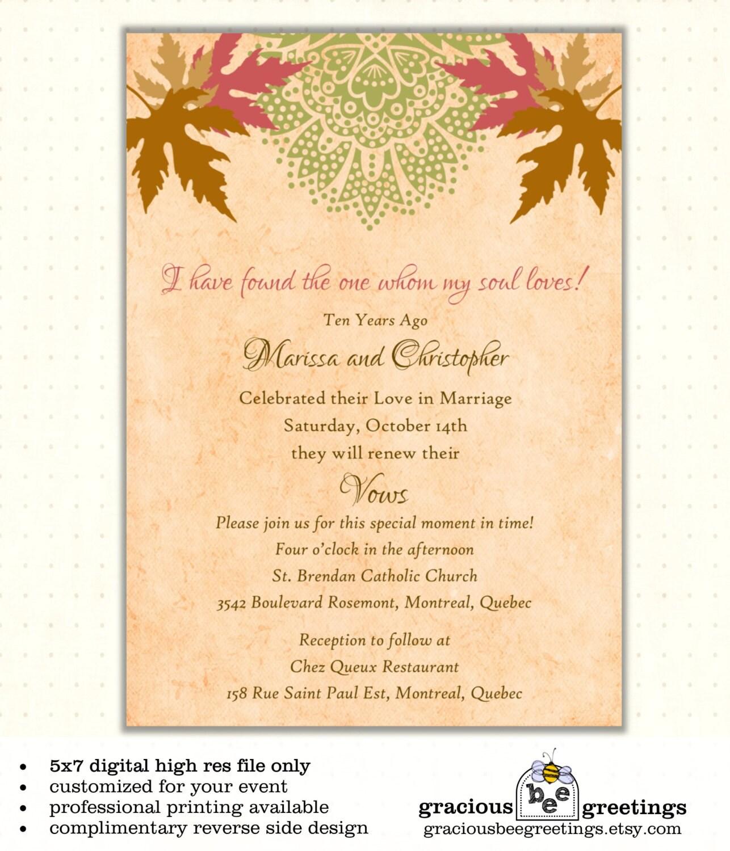 Vow renewal invitation autumn wedding anniversary for Free printable wedding vow renewal invitations