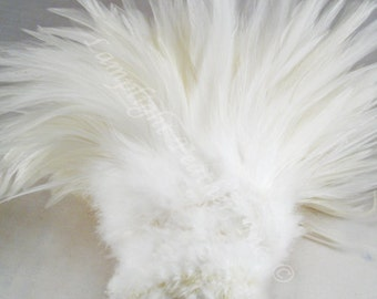 "200+ Feathers, White, Rooster saddle, 3-5"" Wholesale, bulk, feathers, 1 foot strung piece"
