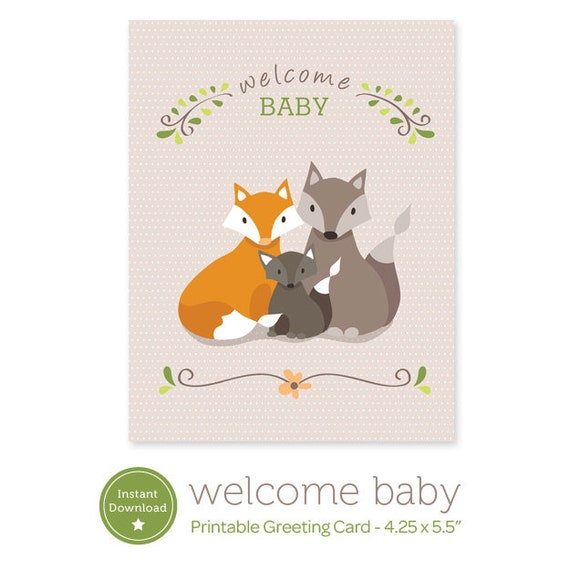Instant Download Welcome Baby Printable Card Fox Family