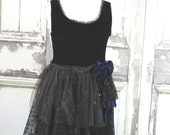 Black Velvet and Lace Party Dress Black Fairy Dress Goth Prom Eco Fashion Upcycled Clothing Large