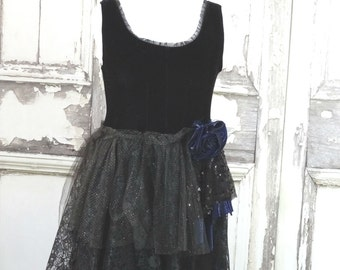 Black Velvet and Lace Party Dress Black Fairy Dress Goth Prom Eco Fashion Upcycled Clothing Large