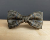 Bow Tie for Men by BartekDesign: pre tied checkered olive green blue lines wool tweed wedding party informal retro style