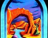 Triassic Pond Rare Vincent Monaco Blacklight Art Poster
