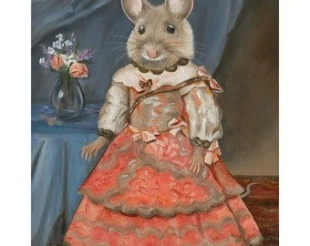 "Miss Mousie, Original Oil Painting, 11x14"" Whimsical Mouse Art, Mouse Wall Decor"