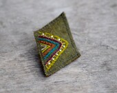 Green textile brooch / Handstiched geometric abstract embroidery / Woolen shawl pin / Beaded ethinc brooch
