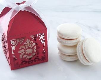 Wedding Favors French Macaron Favor Scroll Wedding Damask Favor Box and (2) French Macaroon